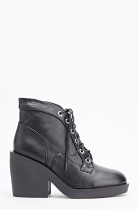 Ankle Laced Up Heeled Boots