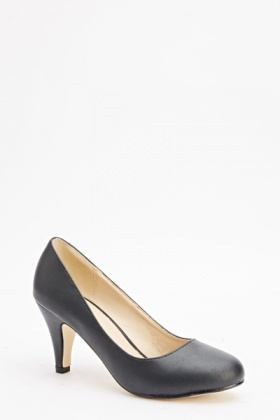 Faux Leather Basic Mid Heels