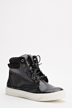 Mock Crock Contrast High Top Trainers