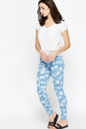 Blue Camouflage Jeggings