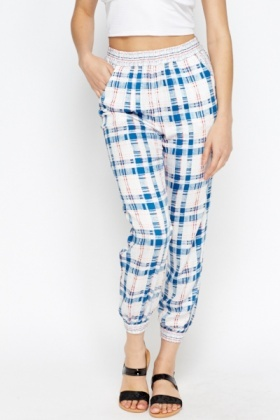Check Print Harem Pants