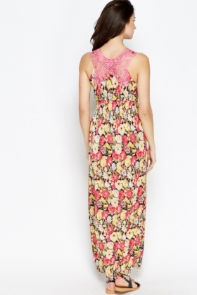 Crochet Back Floral Maxi Dress