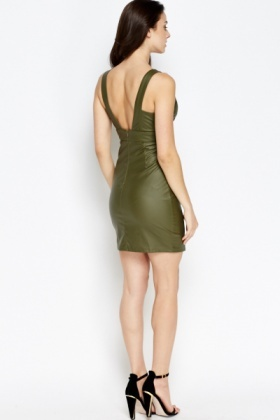 Olive Faux Leather Dress