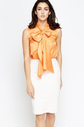Sleeveless Tie Up Neck Blouse