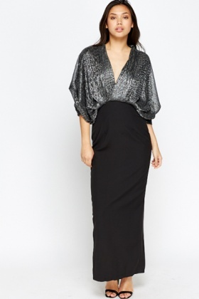Metallic Batwing Sleeve Maxi Dress