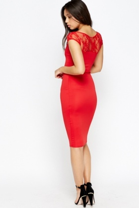 Red Lace Sweetheart Bodycon Dress
