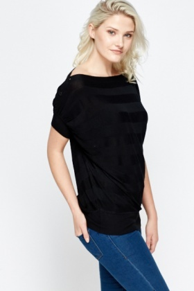 Button Shoulder Batwing Top