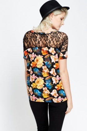 Lace Back Insert Floral Top