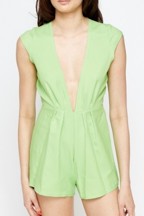 Pleated Petite Neon Green Playsuit