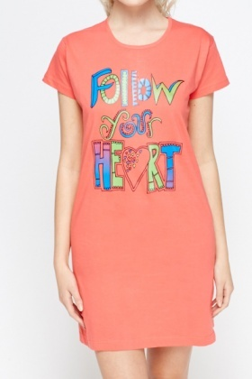 Printed Quote Night Dress