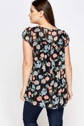 Black Multi Floral Top