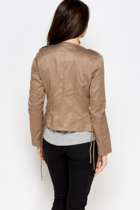 Cotton Blend Light Brown Cropped Jacket - Just £5