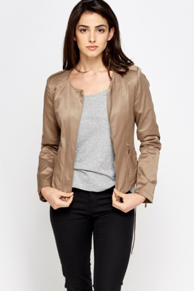Cotton Blend Light Brown Cropped Jacket