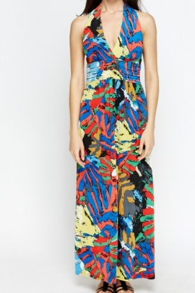 Deep V-Neck Multi Maxi Dress