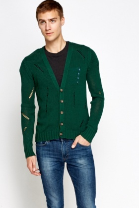 Elbow Patch Cotton Cut Out Cardigan