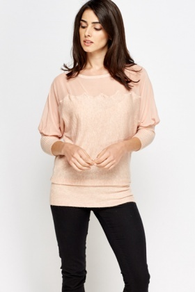 Mesh Insert Batwing Knit Top