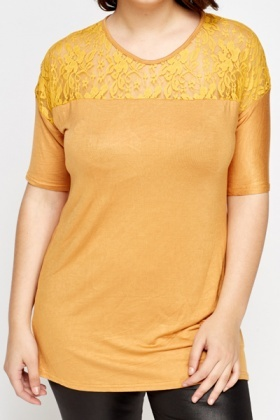 Mustard Lace Insert Top