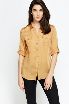 Pocket Front Silky Blouse