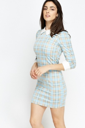 Sky Blue Contrast Mini Dress