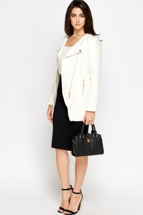 Textured Zip Up Front Coat