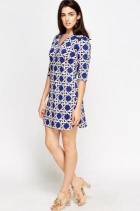 Zip Front Geo Shift Dress