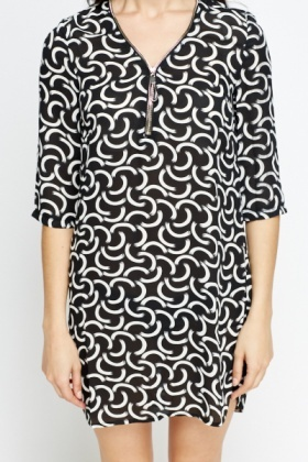 Zip Neck Printed Shift Tunic Dress
