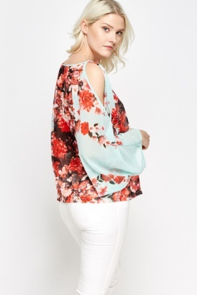 Floral Slit Sleeve Sheer Top
