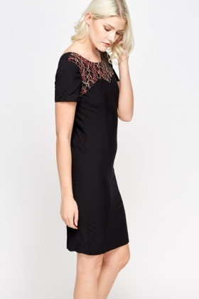 Mesh Sweetheart Contrast Dress