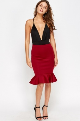 Peplum Hem Pencil Skirt