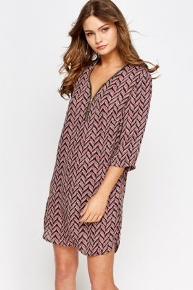 Printed Front Zip Tunic Dress