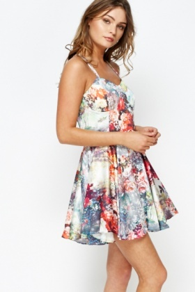 Floral Cross Back Skater Dress