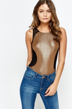 Metallic Mesh Panel Bodysuit