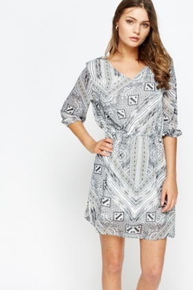 Mixed Print Sheer Skater Dress