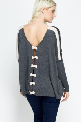 Oversize Striped Bow Detailed Back Sweater