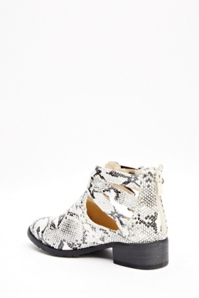 Animal Print Buckle Ankle Boots