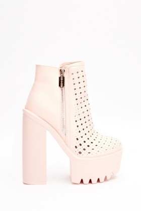 Laser Cut Heeled Chunky Boots