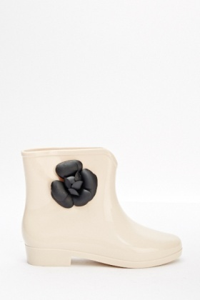 Rose Sided Jelly Ankle Boots