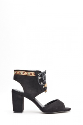Suedette Block Heel Sandals