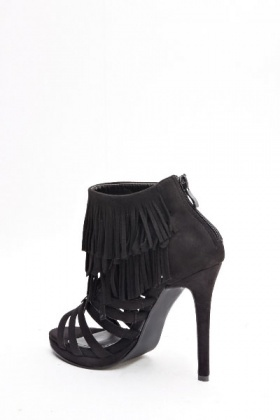 Suedette Fringed Ankle Heel Sandals