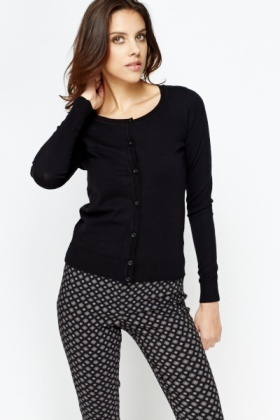 Black Cotton Blend Cardigan