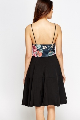 Black Flower Print Bralet