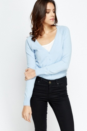 Button Up Cotton Blend Cardigan