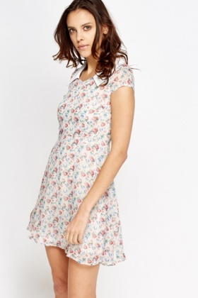 Collard Floral Print Shift Dress