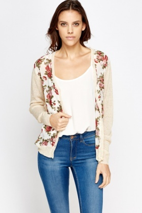 Floral Front Metallic Knit Cardigan