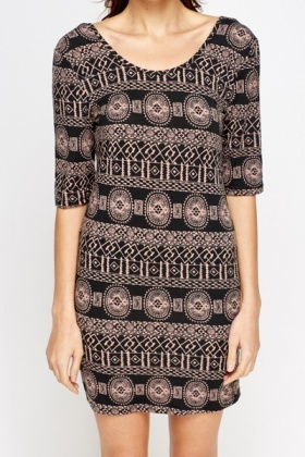 Geo Print Bodycon Dress - 3 Colours - Just £5