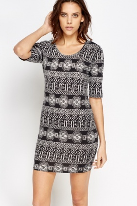 Geo Print Bodycon Dress