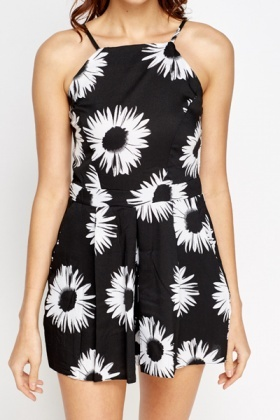 Large Daisy Print Playsuit