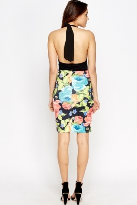 Multi Large Flower Print Pencil Skirt