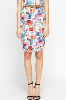 Multi Mix Print Pencil Skirt