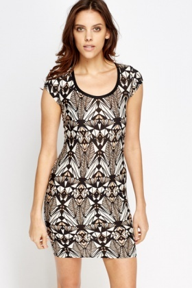 Ornate Print Round Neck Dress